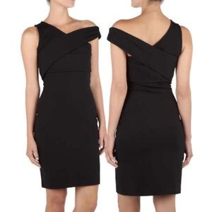 Halston Heritage black bodycon asymmetrical dress